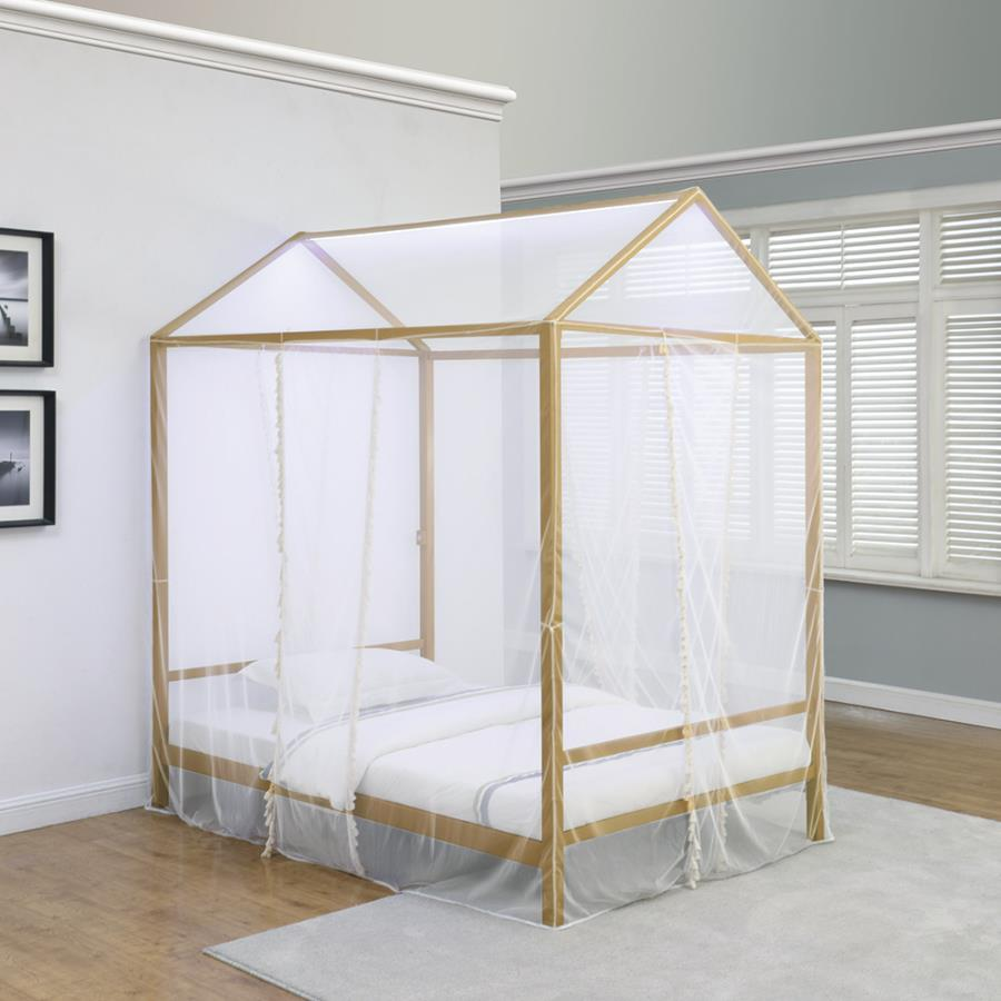 - Altadena Twin Canopy Bed With LED Lighting Matte Gold