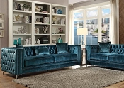 GILLIAN - Dark Teal Velvet Sofa Set w/ 3 Pillows