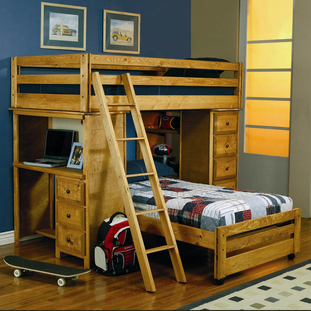 Twin/Twin Loft Bed with Built-In Desk
