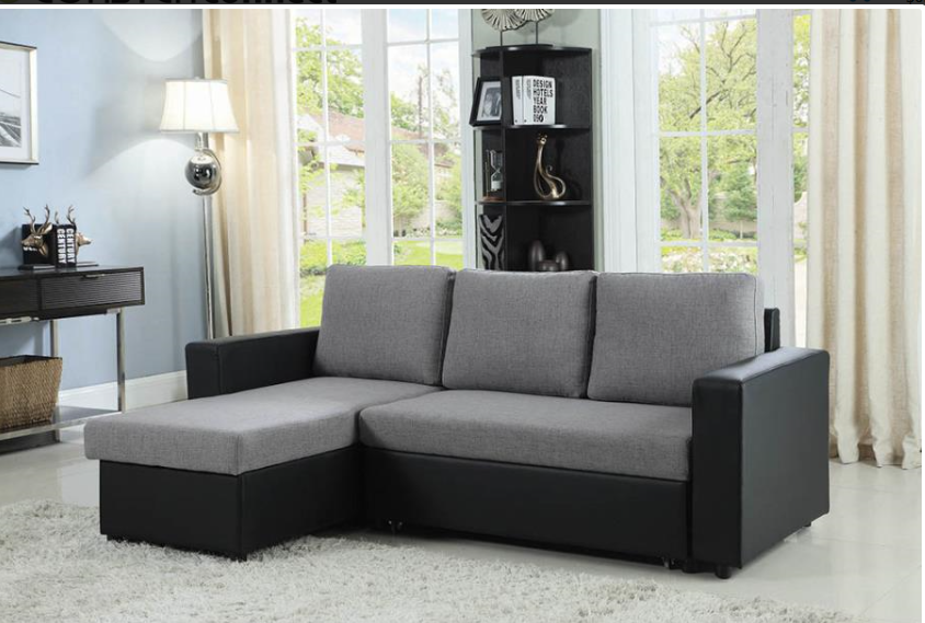 Grey and Black Sleeper Sectional