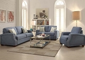 BETISA - Light Blue Fabric Sofa Set w/ 2 Pillows