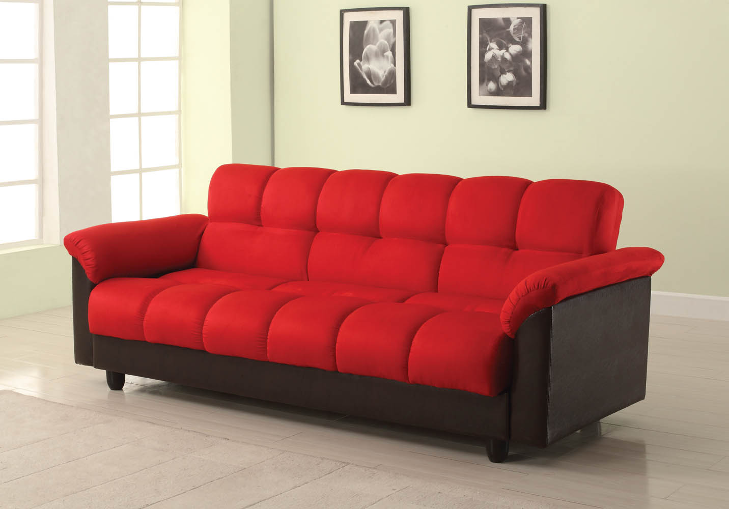 Red and Black Adjustable Sofa Bed