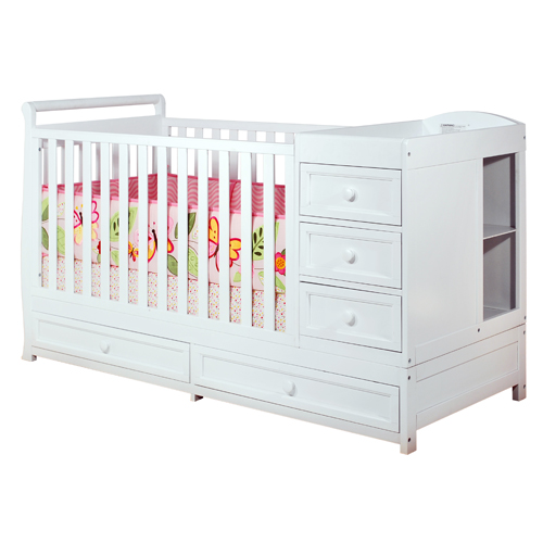 Daphne Convertible 3-1 Crib with Changing Table w/ Three Drawers and Two Unit Shelves