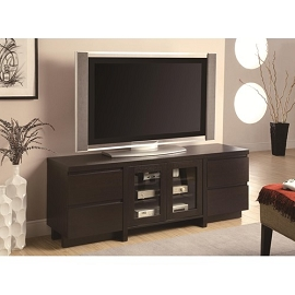 Contemporary TV Console with 4 Drawers and 2 Glass Doors