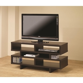 Cappuccino Finish Contemporary TV Console with Open Storage