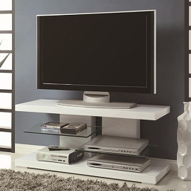 Modern TV Stand with Alternating Glass Shelves