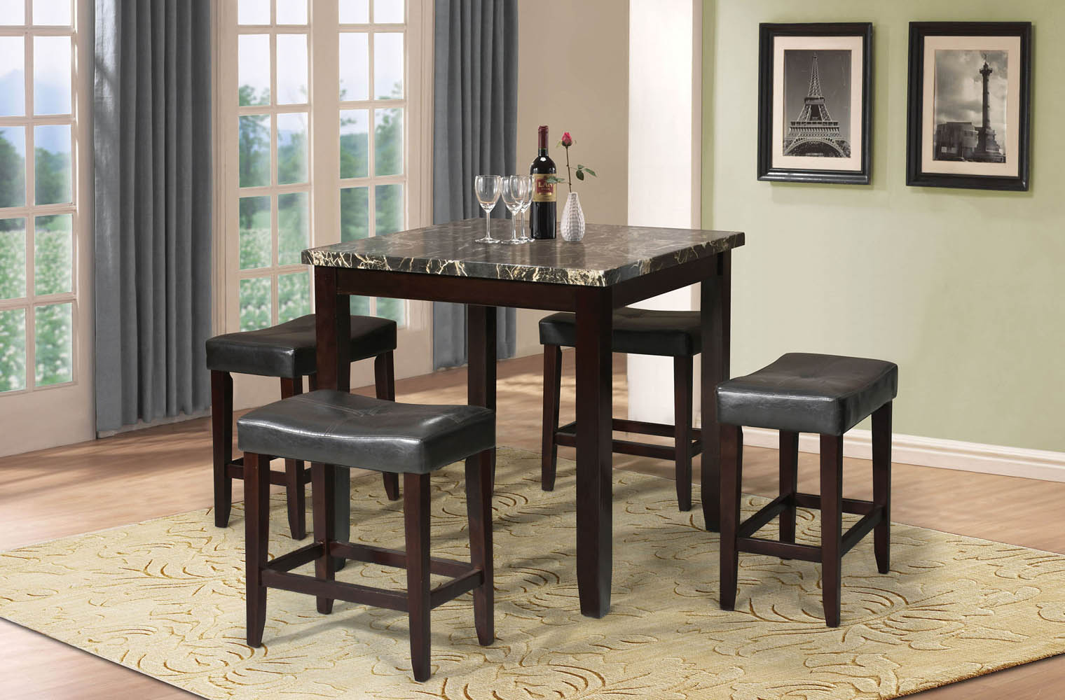 & 5 Piece Faux Marble Top Counter Height Table Set