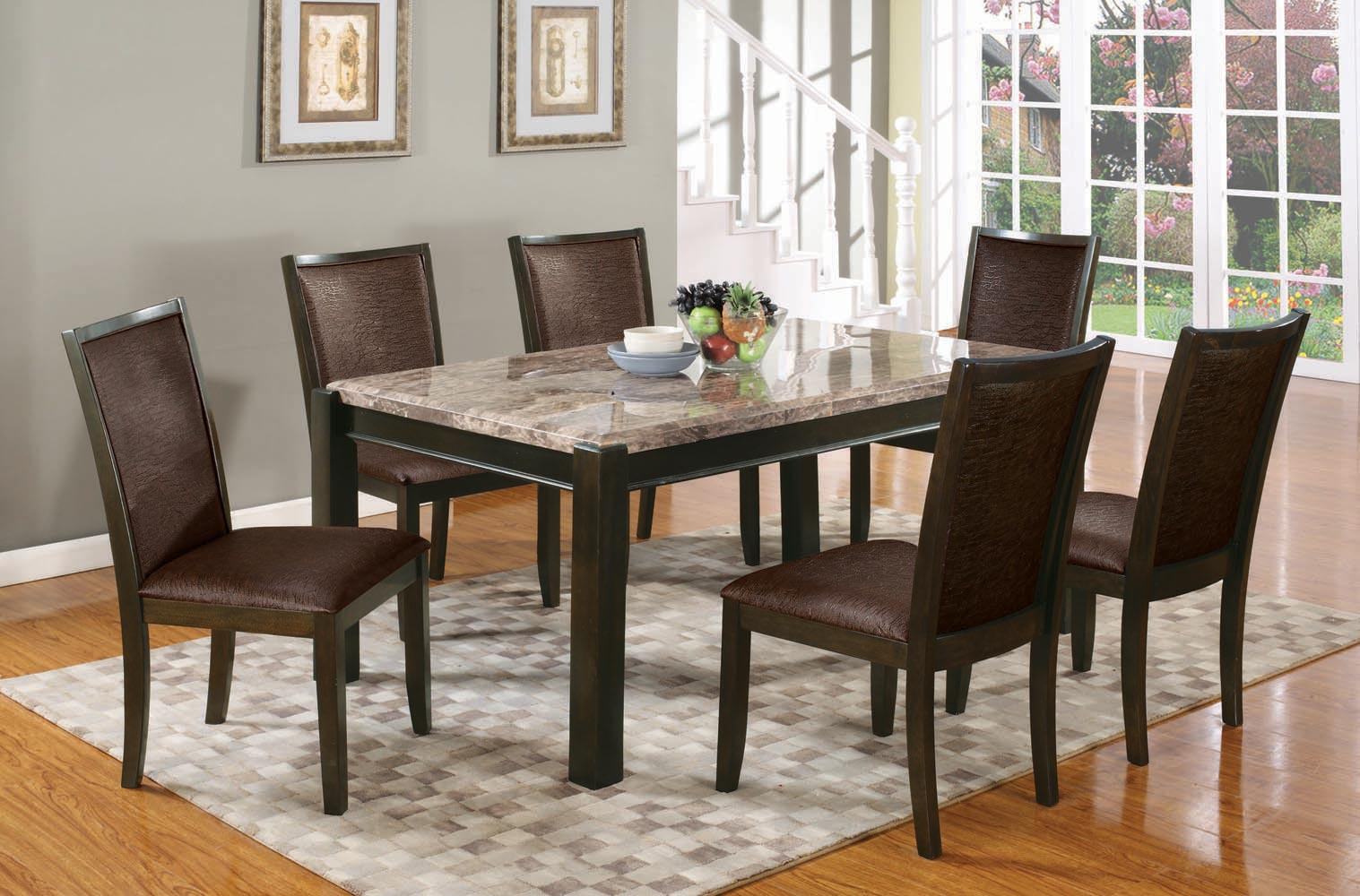 7 Piece Gray Marble Top Dining Set