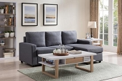 Blue Grey Sectional With Ottoman