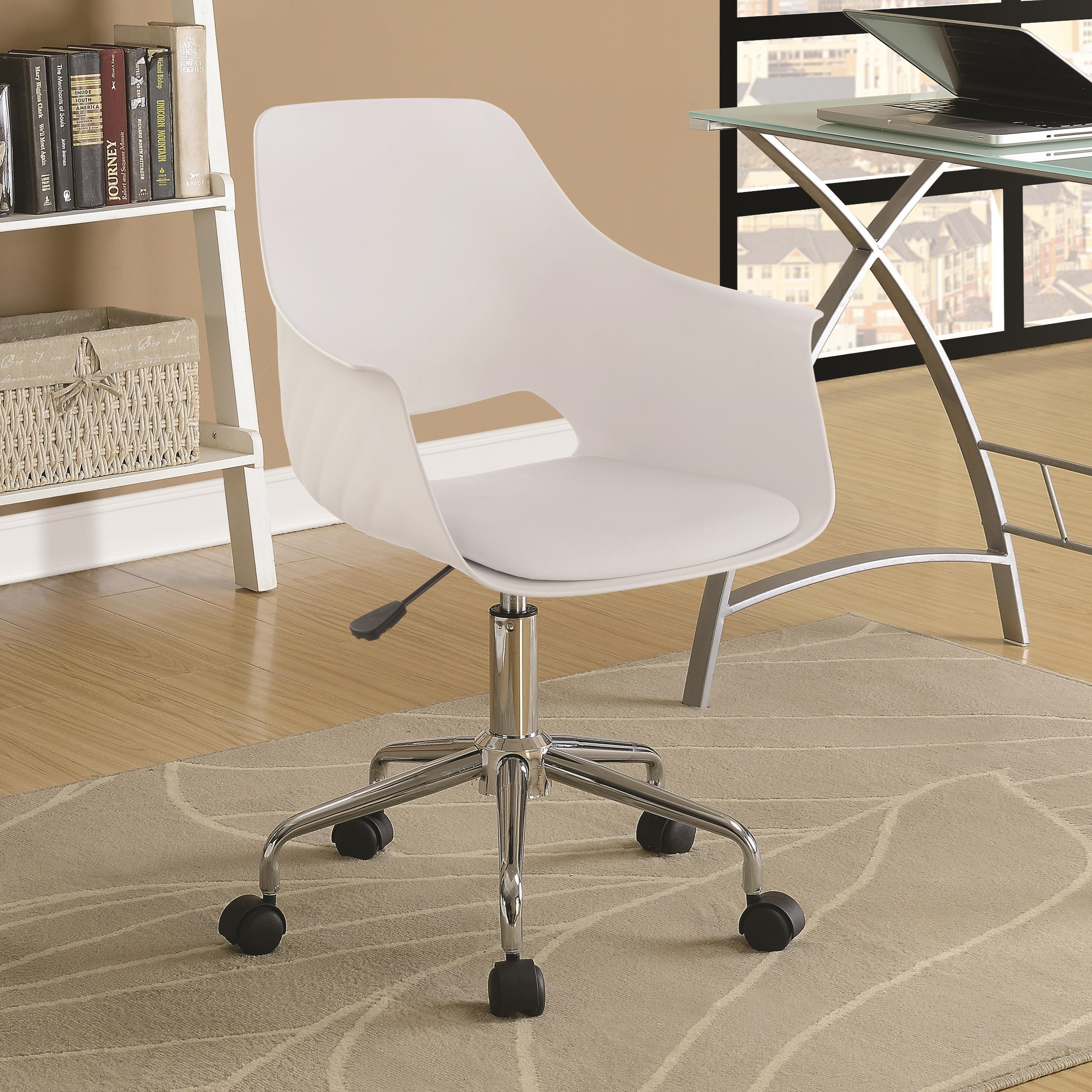 Contemporary Office Chair with Leatherette Seat- black and white