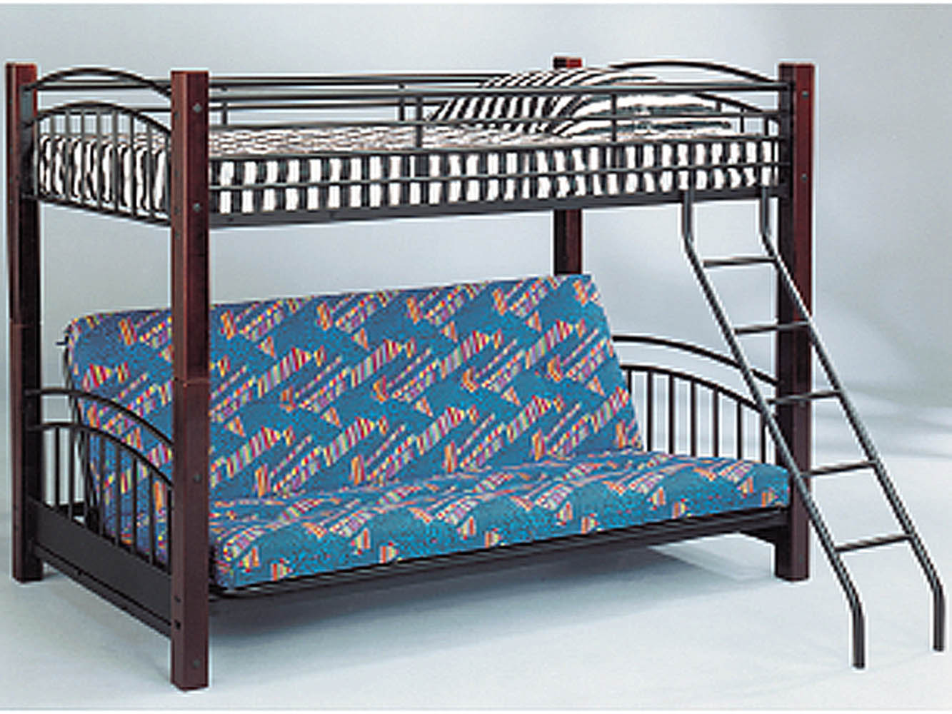 Twin Futon Convertible Bunk Bed With Wood Post