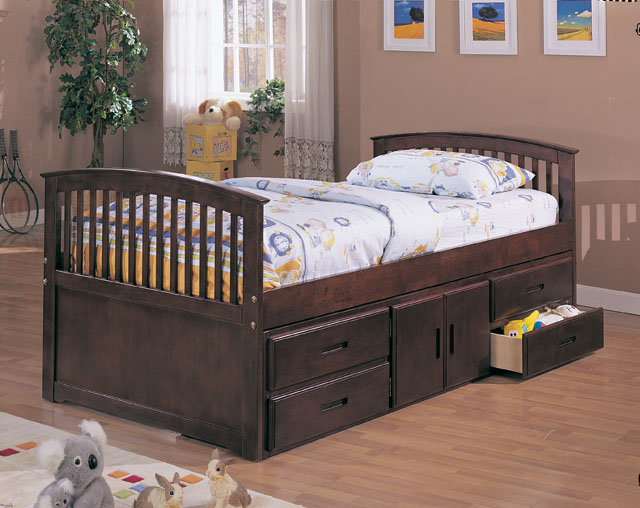 Cherry Finish Captain Twin Bed with 4 Drawers and Storage.