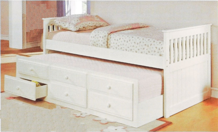 Trundle Twin Captain Bed With Drawers Color Option