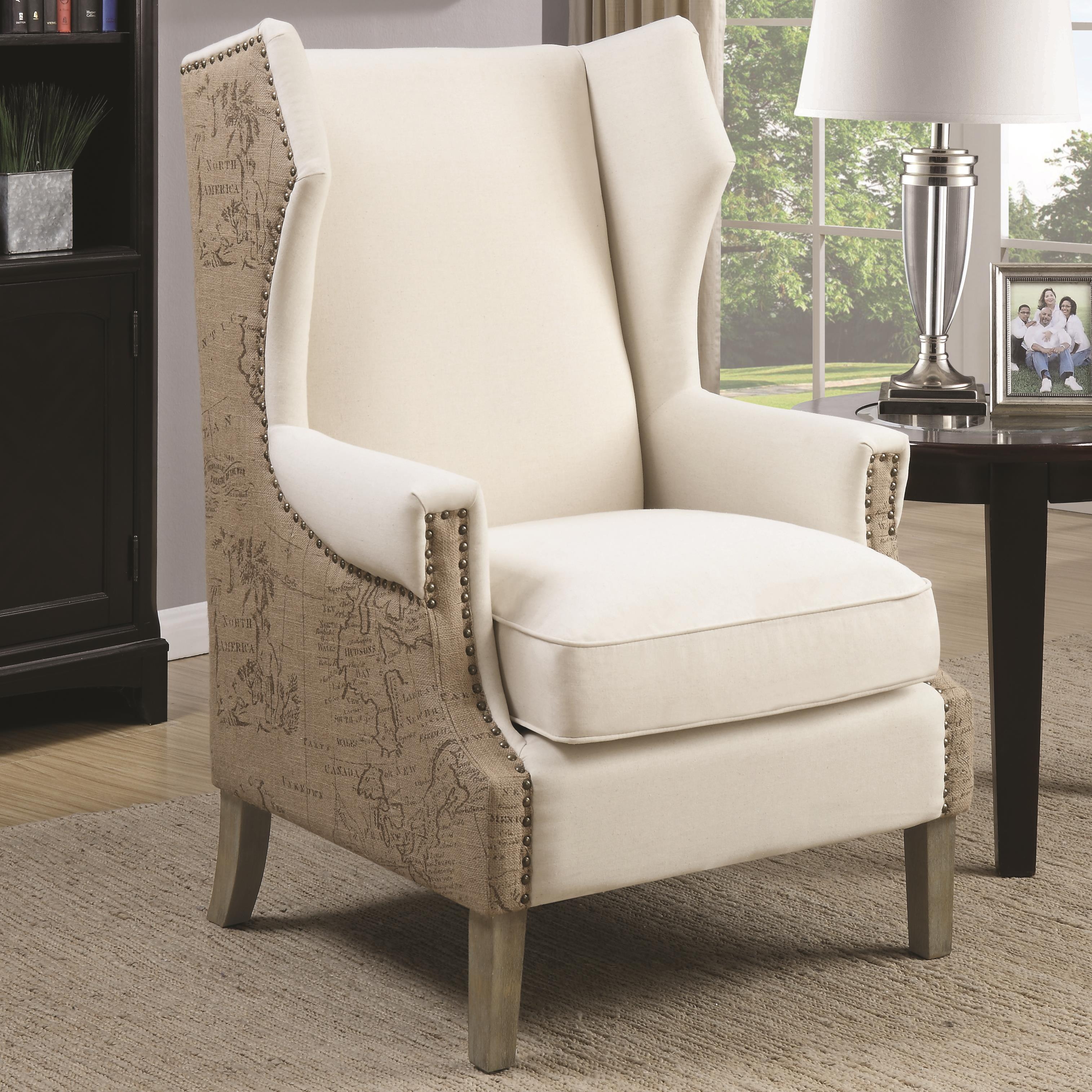 Missoni Style Print Accent Chair: Accent Chair With Wing Back Design And Map Print