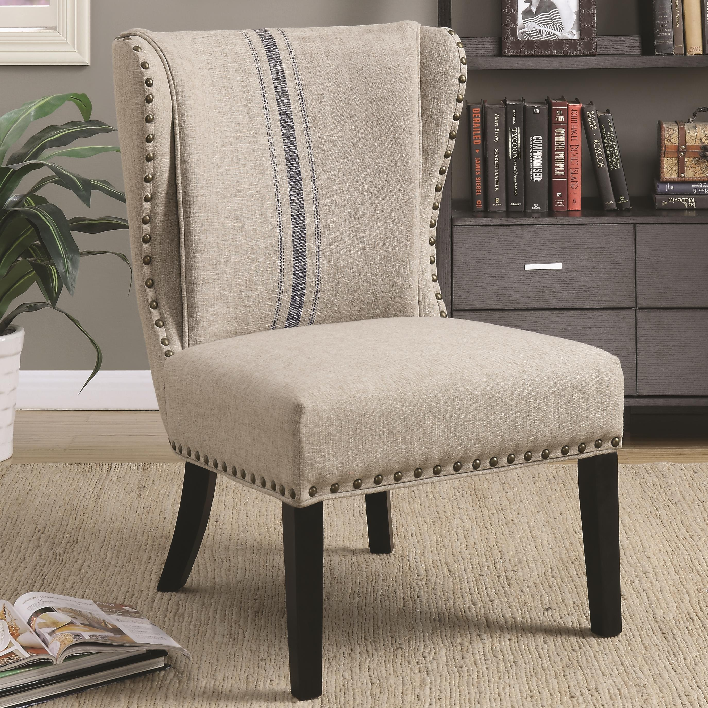 Traditional Accent Chair with Wing Back and Nailhead Trim