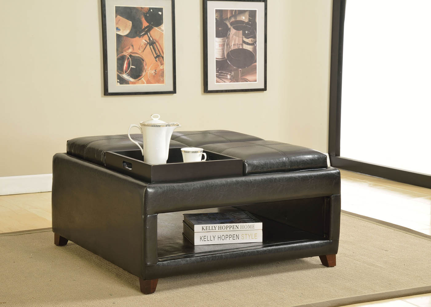 Dark Brown Ottoman with Four Trays