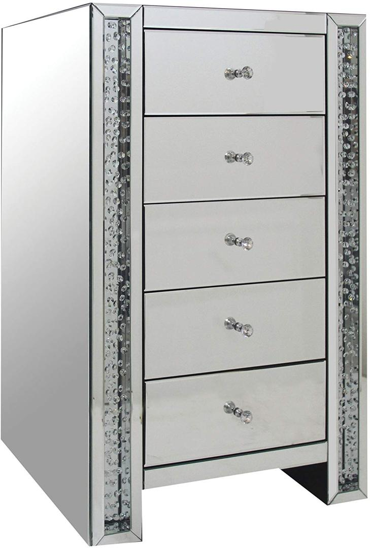 Mirrored Cabinet with Faux Crystals Inlay