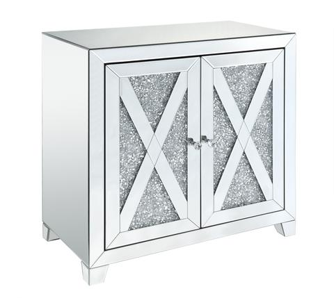 Mirrored Console Table with Faux Diamond Inlay