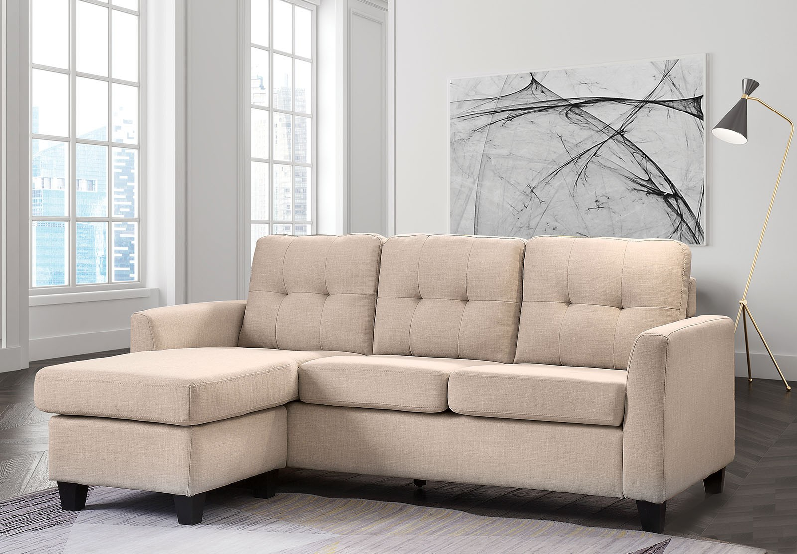 Marvelous The Macey Compact Sectional Beige Or Grey Beatyapartments Chair Design Images Beatyapartmentscom