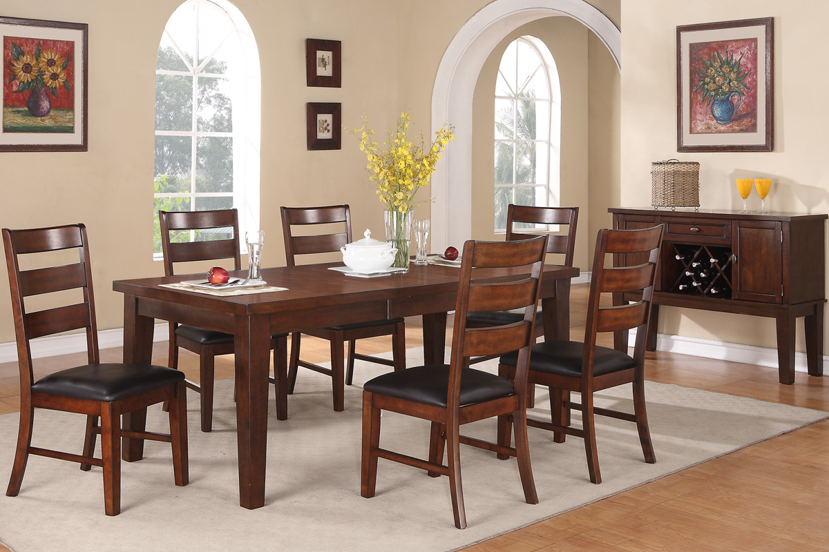 7 Piece Antique Walnut Finished Wooden Table Set