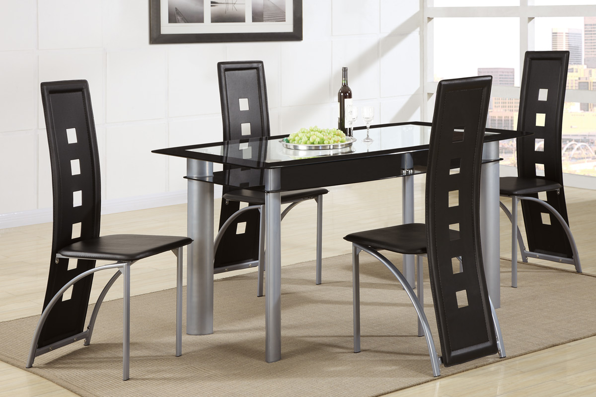 5 Piece Metal Frame Dining Table Set