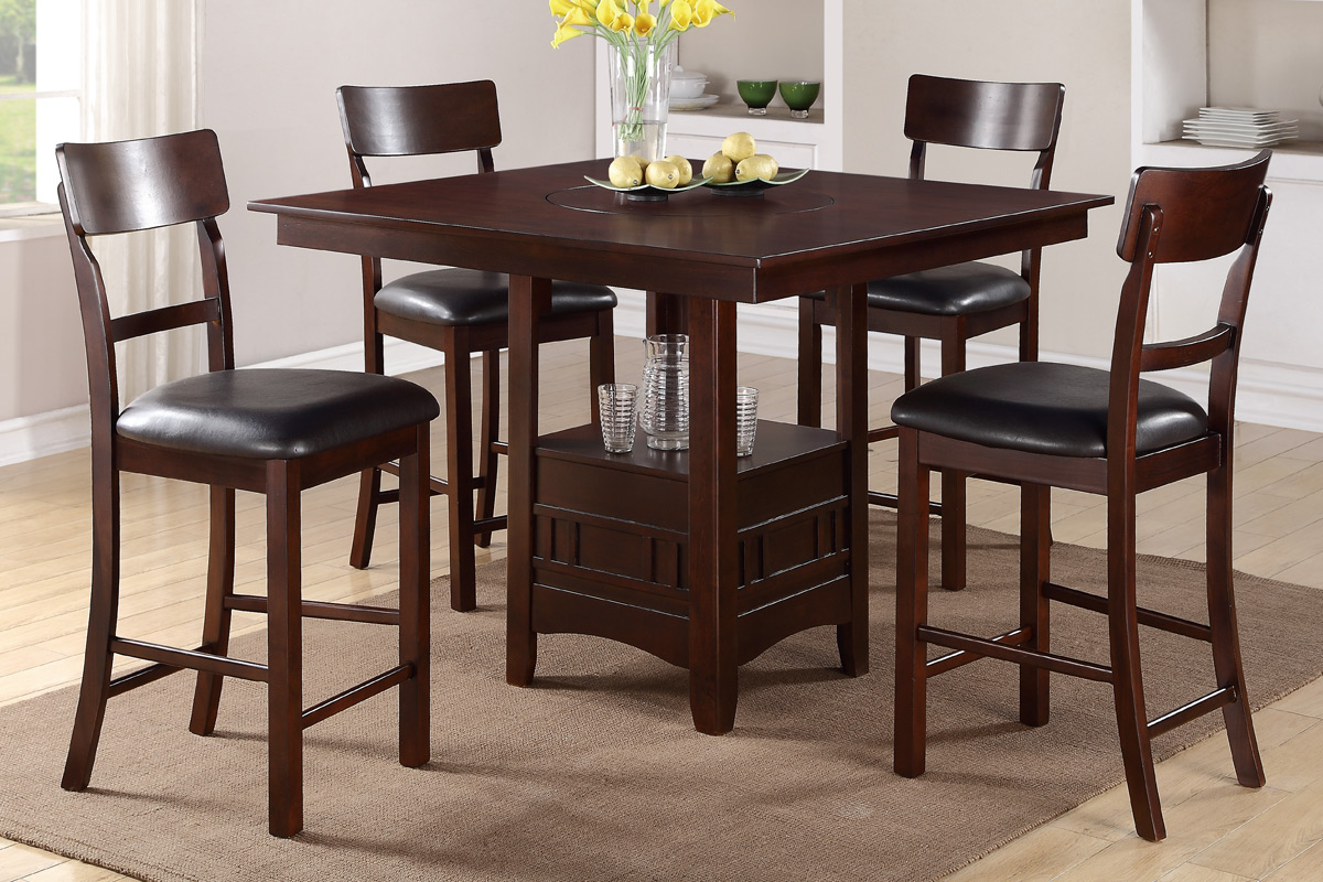 5 piece solid wood counter height dining table set