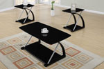 3 Piece Modern Black Veneer and Silver Metal Table Set
