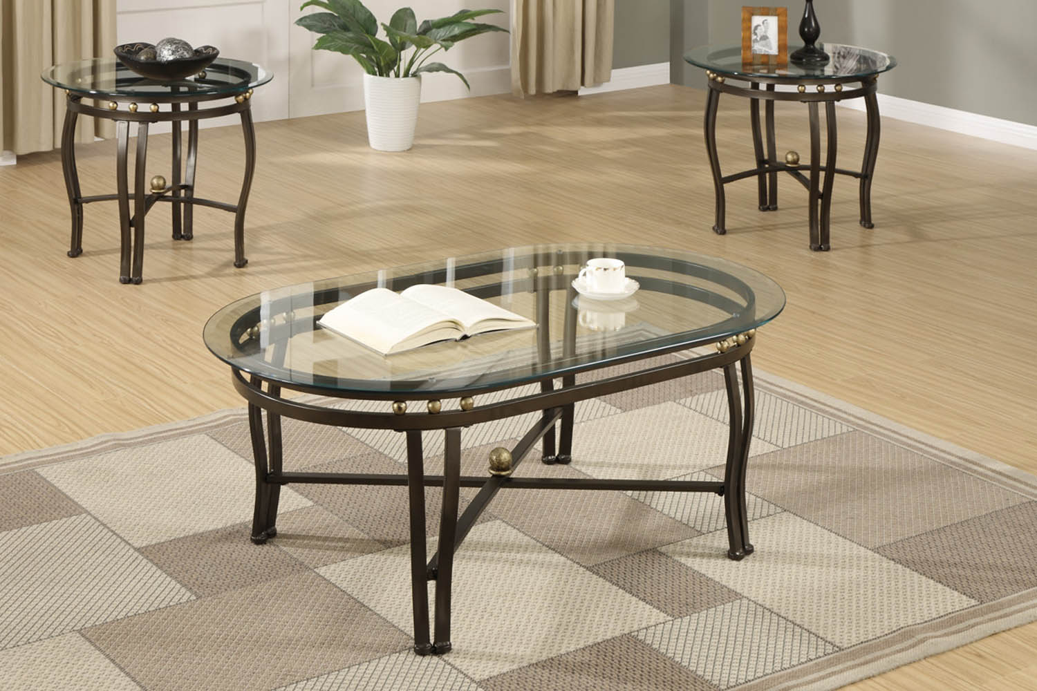 3 Piece Bronze Metal Coffee Table Set with Clear Glass Beveled oval Shaped p 1600