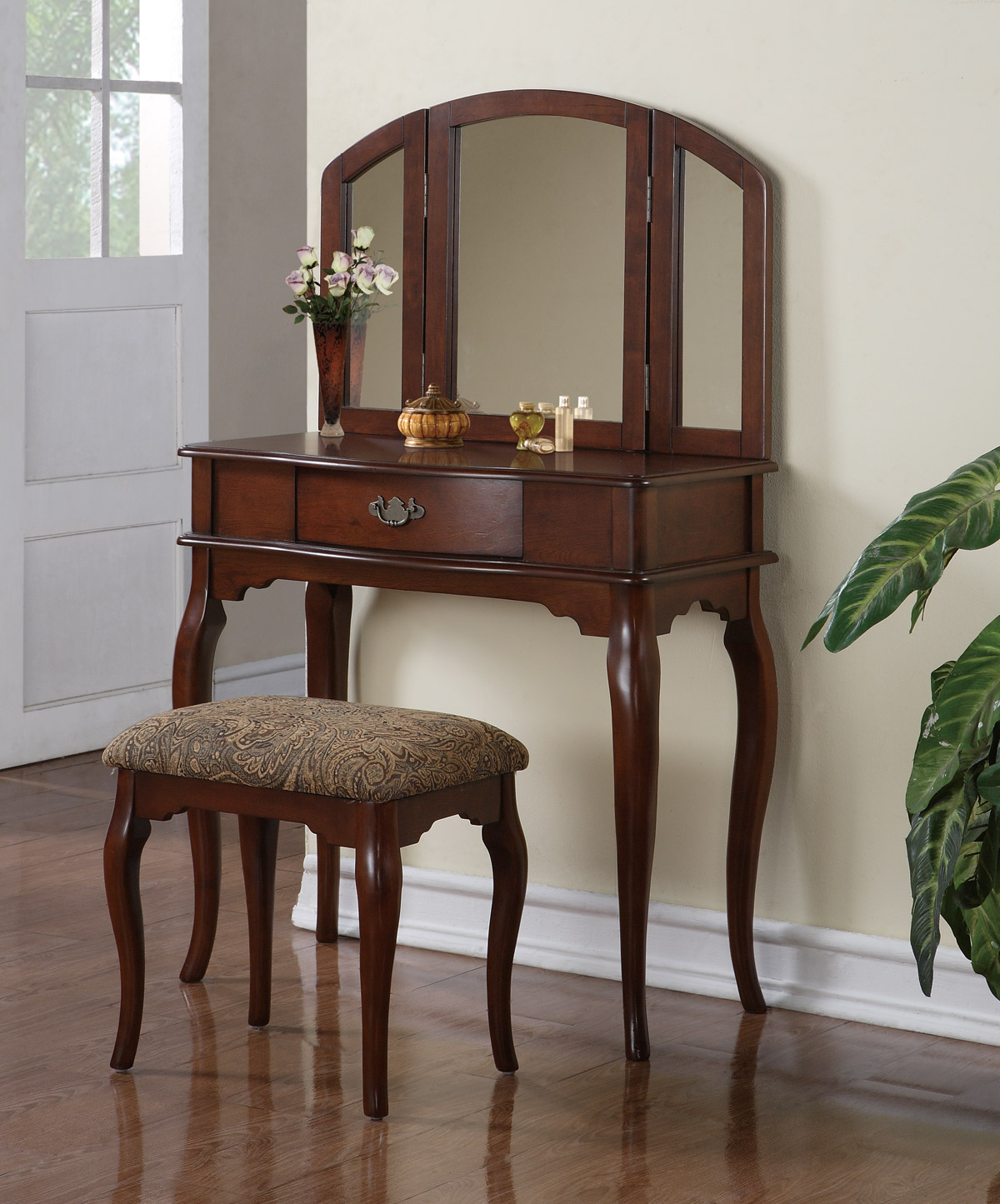 Triple Mirror Cherry Vanity Set With Pattern Upholstered Stool
