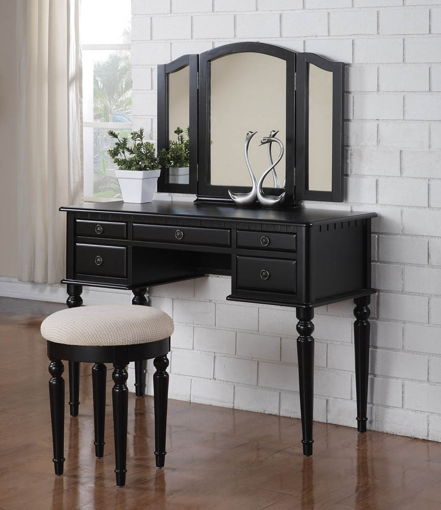 Triple Mirror Black Vanity Set With Smooth Fabric Upholstered Stool