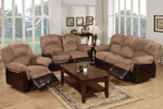 2 Piece Chocolate Suede with Faux Leather Set Recliner