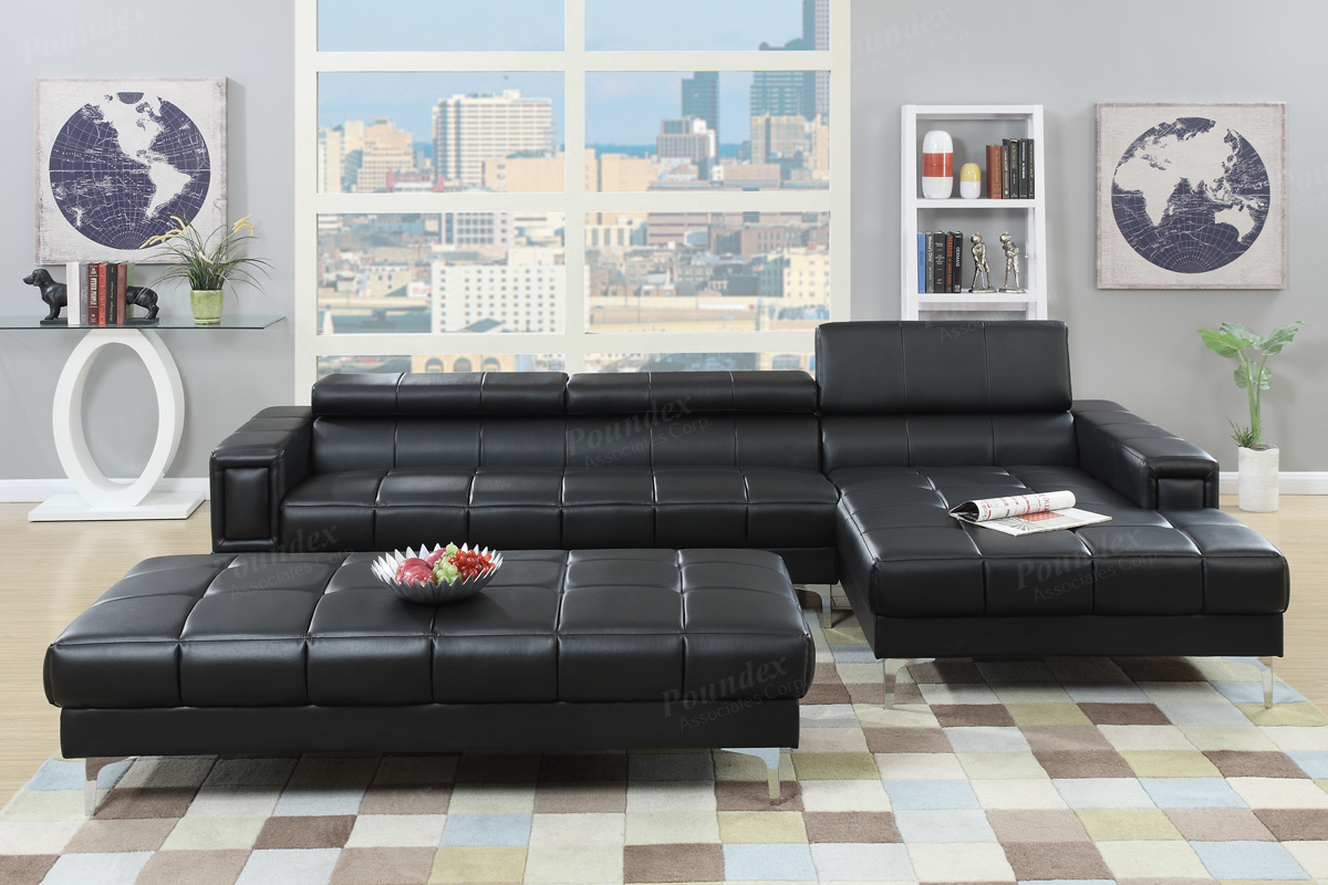 2 Pc Sectional Sofa W Flip Up Headrest