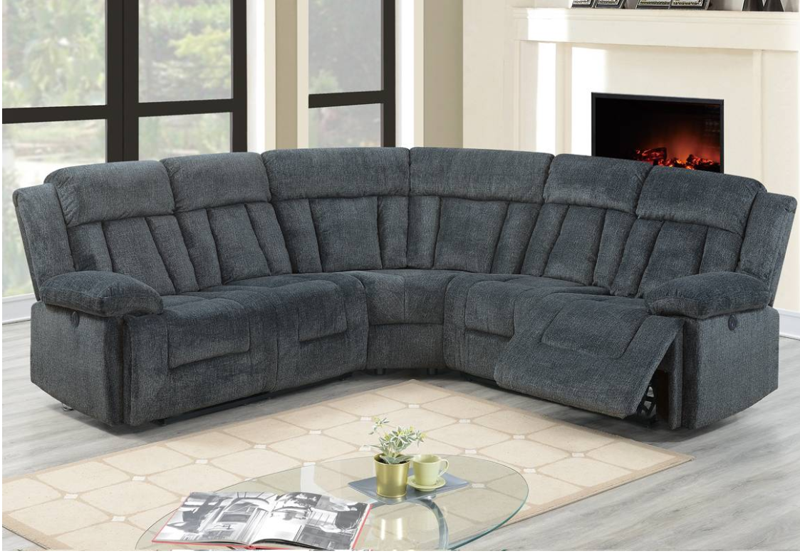 Power Modular Reclining System Dark Blue Or Grey Sectional With