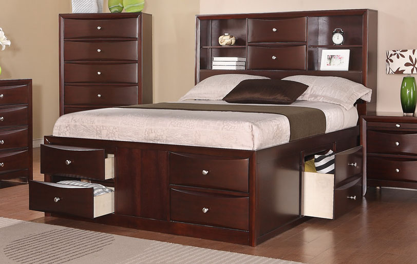 Espresso Solid Wood Queen Bed Frame w/ Drawers and Headboard Bookcase