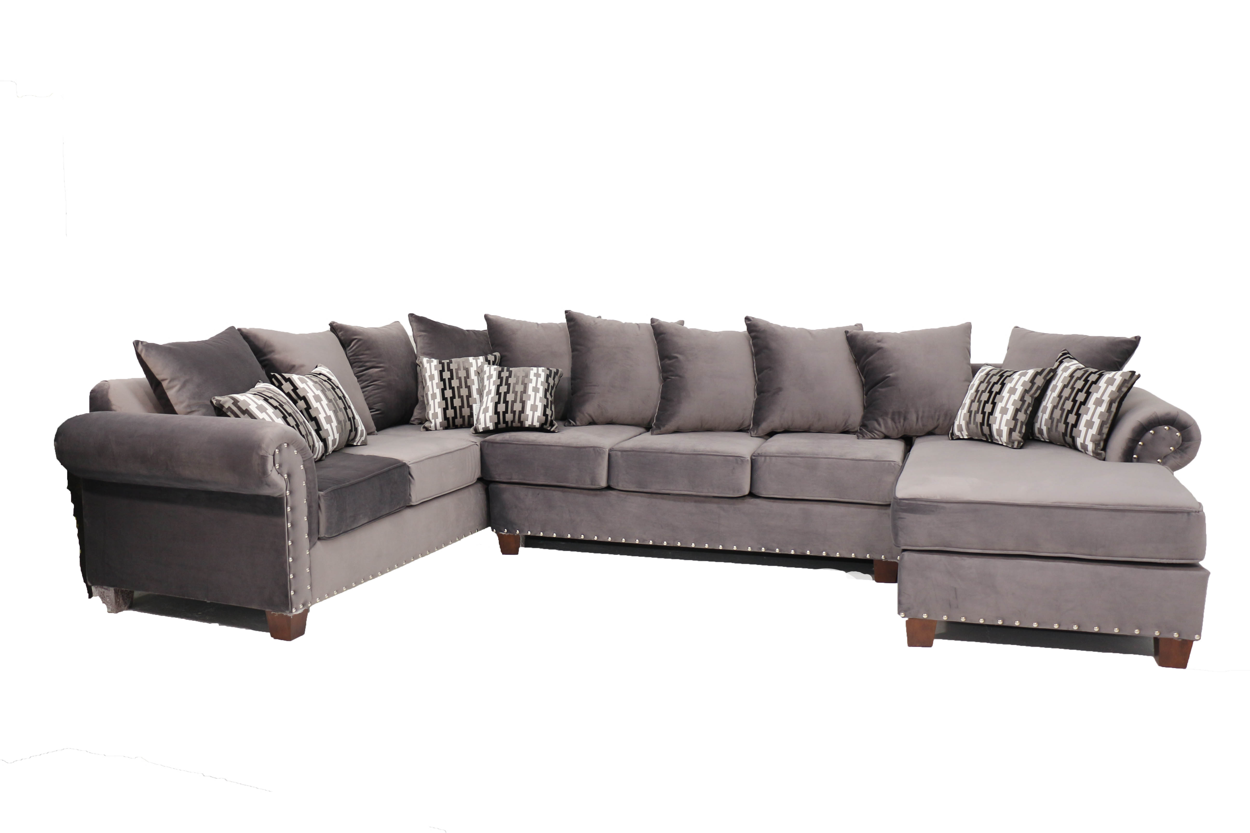Magnificent Ez Grey Velvet Play Sectional With Chaise Machost Co Dining Chair Design Ideas Machostcouk