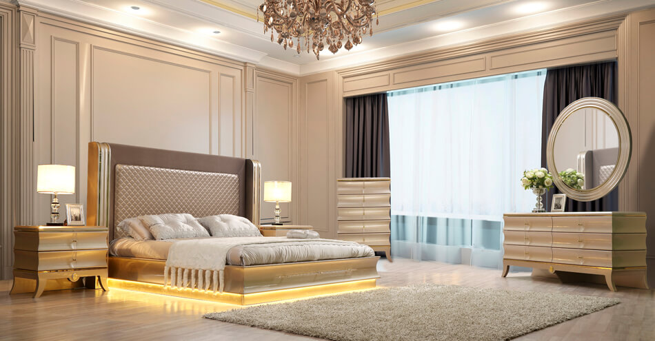 HD-925 Luxury Platinum King Bed Frame
