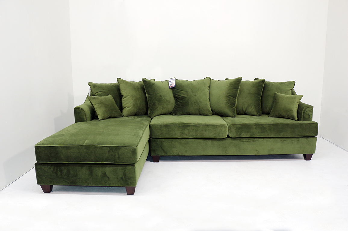 2 Pcs Green Sectional Sofa Set Custom Colors