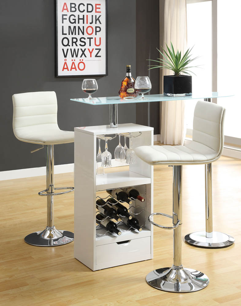 3 Piece White Contemporary Bar Set