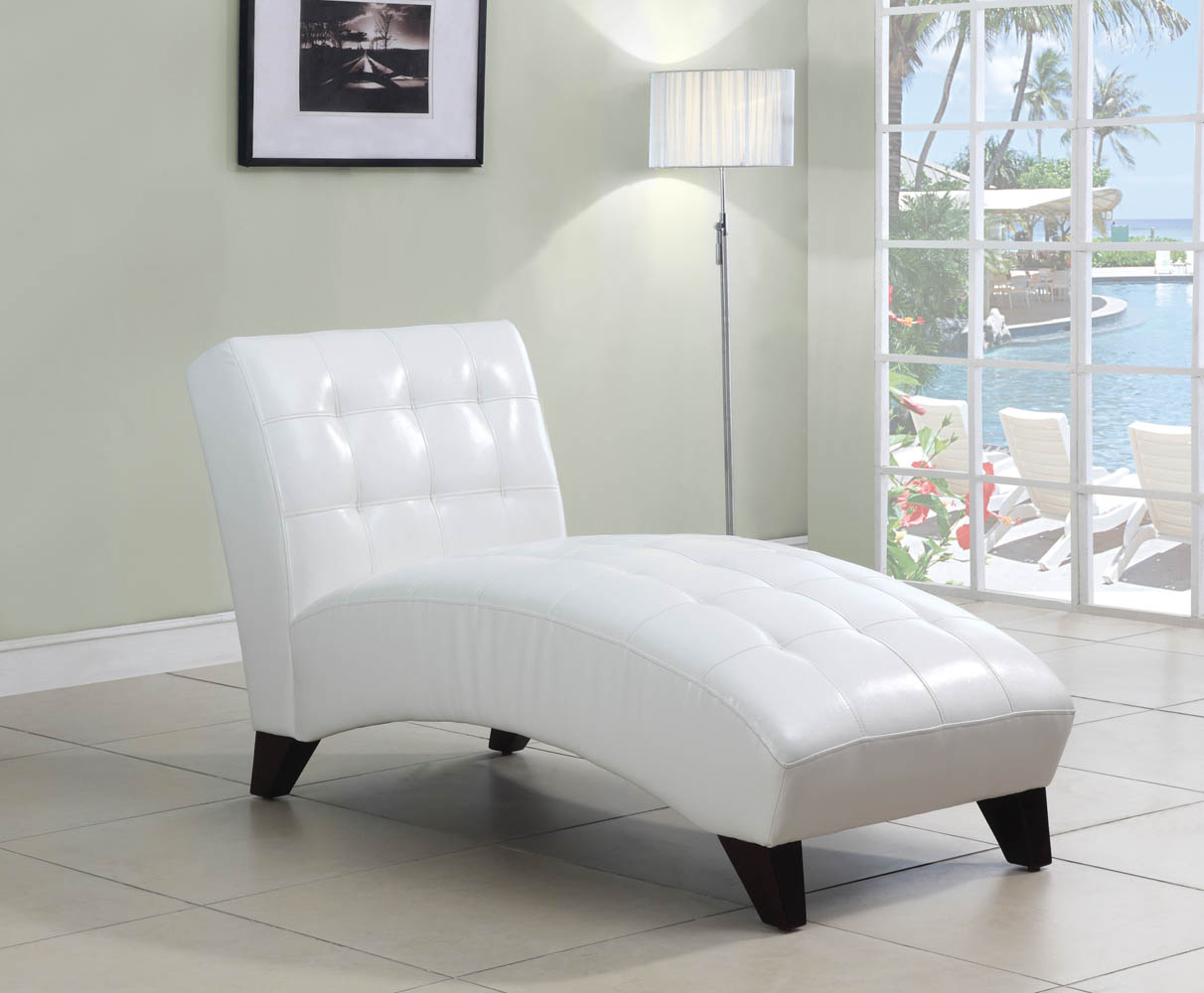 white leather chaise lounge white faux leather lounge chaise 21985 | UMF15037