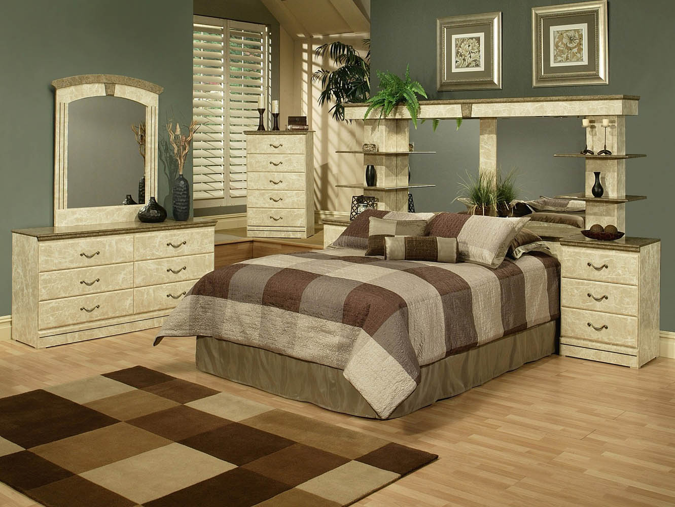 wall unit bedroom set green marble finish wall unit with 2 nightstands 17762