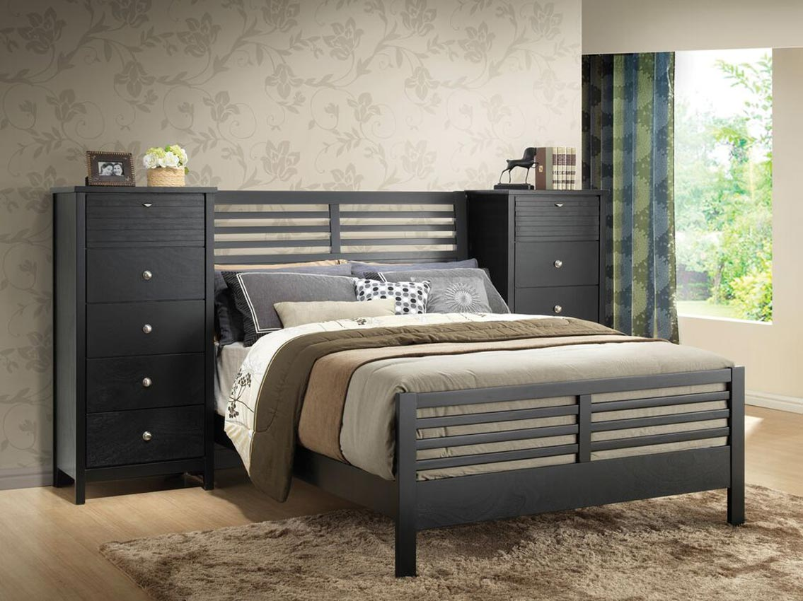 Add To My Lists. Black Wall Unit Bed Frame