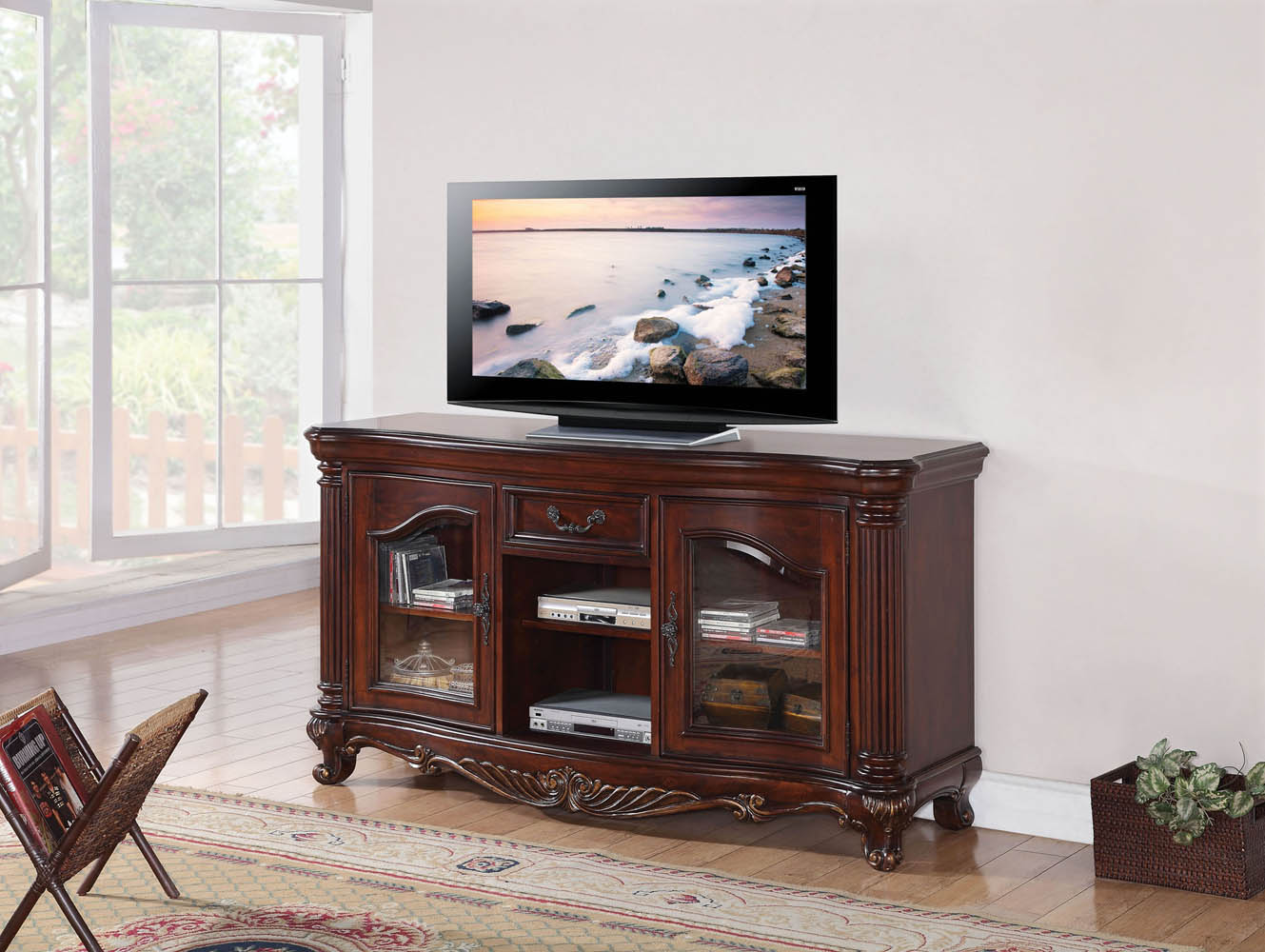 Brown Cherry Finish Elegant Tv Console