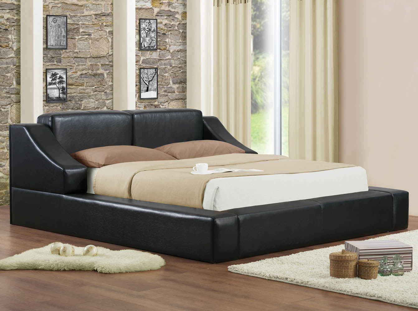 Contemporary Bedroom Set London Black By Acme Furniture: Queen Black Upholstered Platform Bed Frame