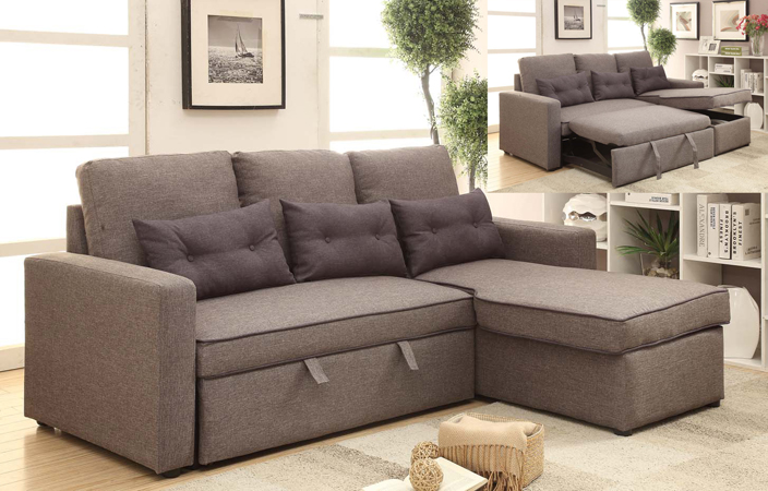 UMF2075-GR-Pull Out Sofa Bed
