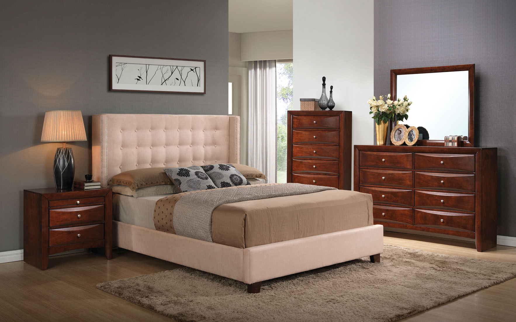 Beige Micro Fiber Upholstered Queen Bed Frame