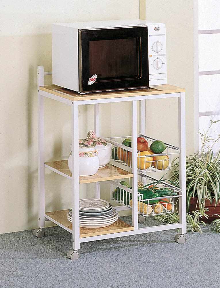 Metal Kitchen Cart with White and Natural