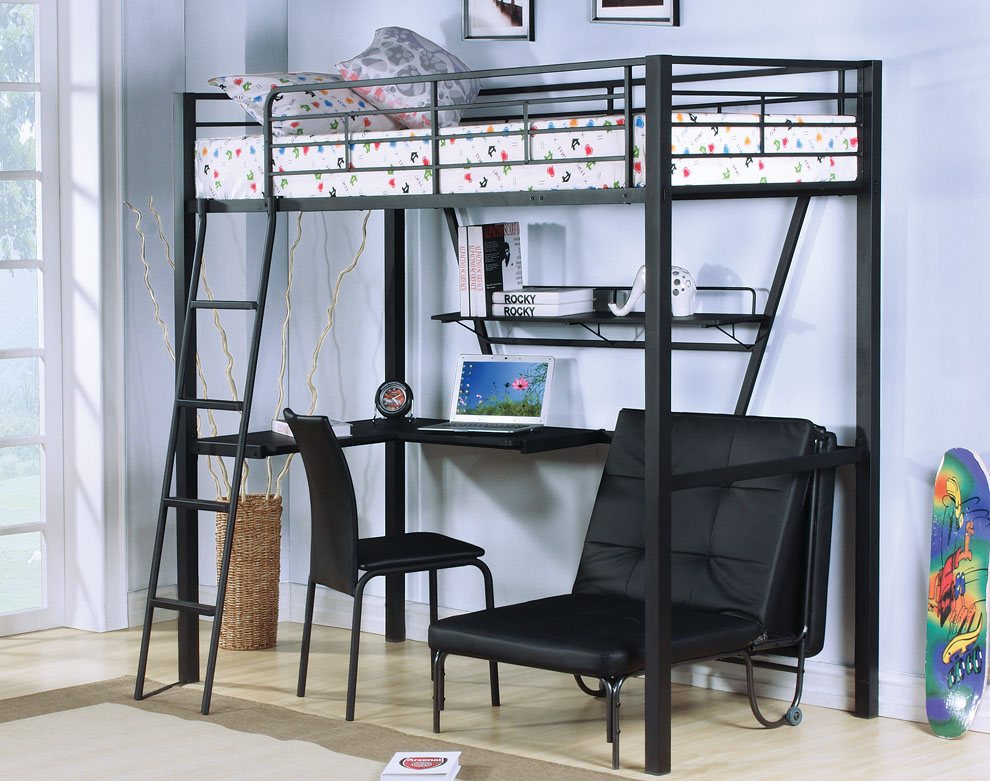 Black Metal Twin Loft Bed with Desks and Futon