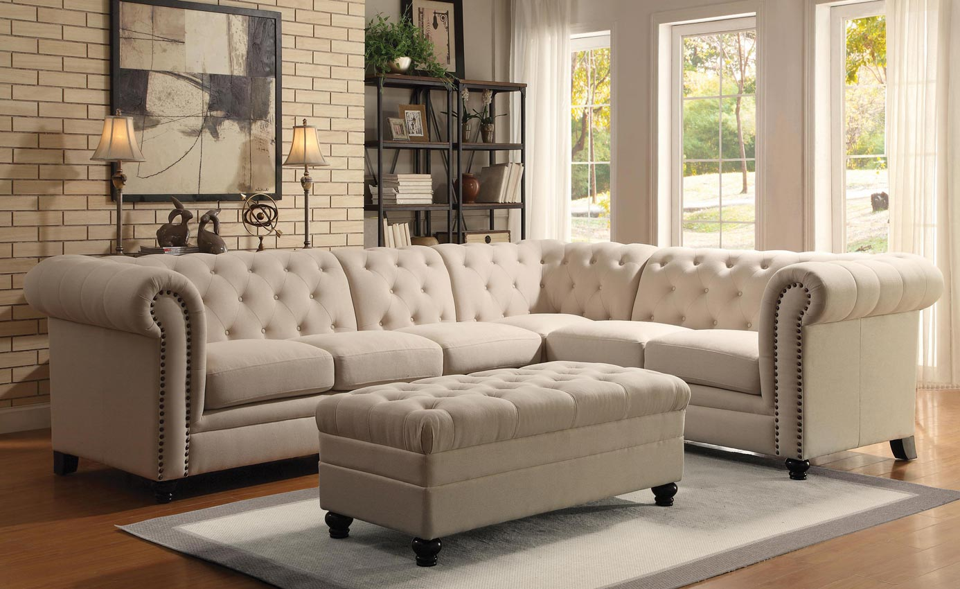Button Tufted White Sectional Sofa Armless Chair Formal Traditional Living Room