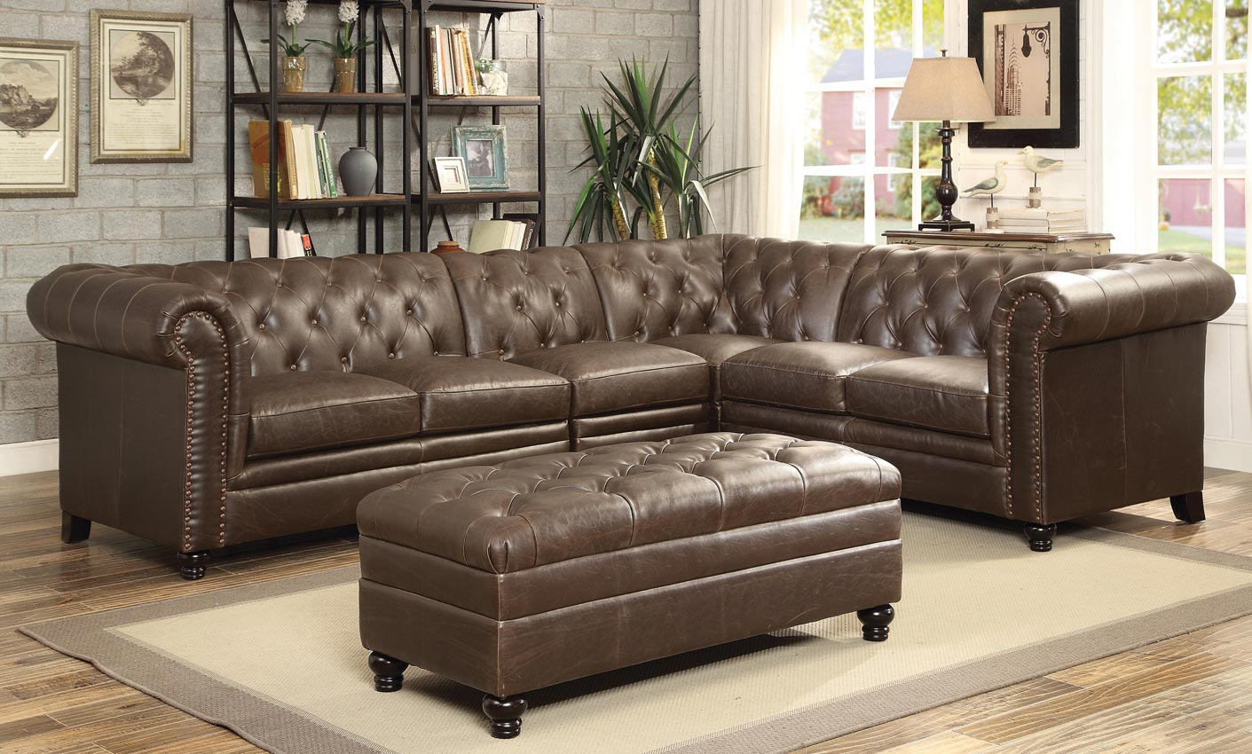Swell Button Tufted Sectional Sofa With Armless Chair Machost Co Dining Chair Design Ideas Machostcouk
