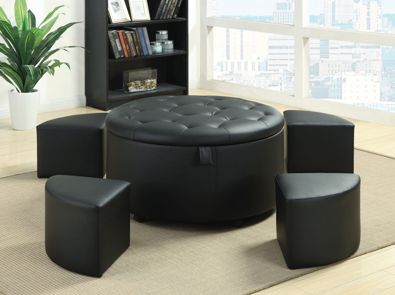 Outstanding 5 Piece Black Faux Leather Ottoman Set Bralicious Painted Fabric Chair Ideas Braliciousco